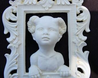 Demon Child Unpainted Resin 3 Dimensional Framed Portrait