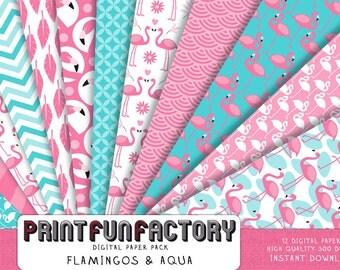 Flamingo digital paper - Flamingo aqua & pink background paper  - 12 digital papers (#129) INSTANT DOWNLOAD