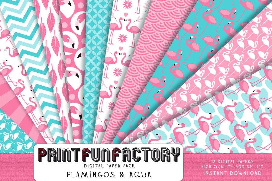 flamingo digital paper flamingo aqua pink background paper 12