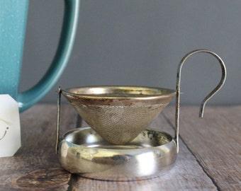 Antique Tea Strainer, Silver Plated, Miniature Strainer, Loose Tea Strainer, Tea Infuser