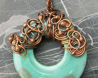 Copper Wire Wrapped Agate Donut Pendant by Rebecca Weber