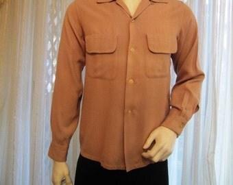 Vintage Cocoa Cotton Blend Men's Shirt, Size Small, Elbeco, ca 1940s