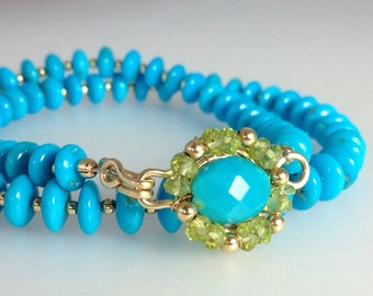 Sale.........Exquisite Sleeping Beauty Turquoise Choker Necklace & Peridot With 14k Gold
