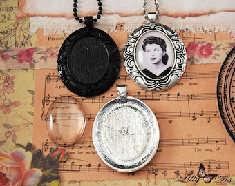 9 Vintage Edge Cameo Kits - 9 22x30mm Cameo Pendant Trays - 9 22x30mm Glass Cabochons - 9 Matching Vintage Chains