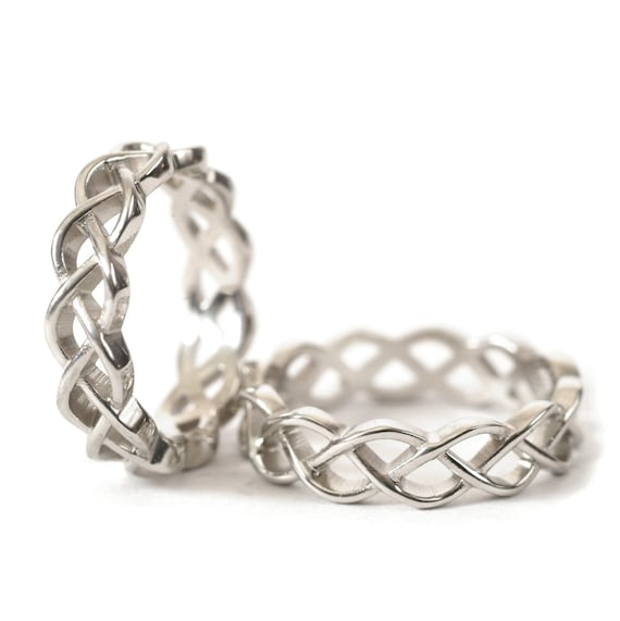 Celtic Wedding Ring Set With Braided Cut-Through Knotwork Design in Sterling Silver, Made in Your Size CR-221