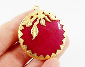 36mm Cherry Red Jade Faceted Stone Pendant with Leaf Detail - 22k Matte Gold Plated 1pc