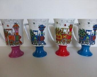 Arnart Chattanoga Choo - Choo Coffee / Tea Smug Mug Set Of Four Royal Crown