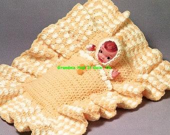 Baby Blanket Crochet Pattern - Pouch Doll Blanket - Baby Doll Blanket - Bunting Afghan Doll Carrier - PDF Instant Download - Digital Pattern