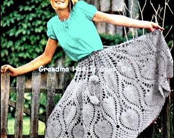 Vintage Pineapple Poncho Crochet Pattern - PDF Instant Download - 1970 Vintage Crochet Skirt Shawl -  Cloak Shrug - Digital Pattern - Vtg