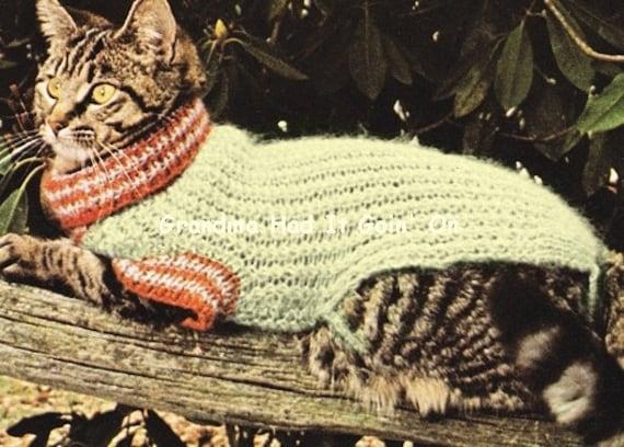 Cat sweater knitting pattern 70s cat coat mohair sweater - Cat jumper knitting pattern ...
