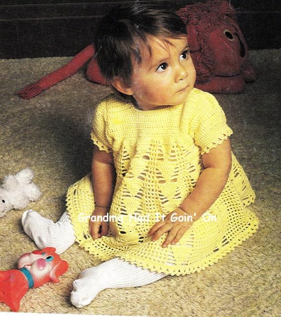 Baby Dress Crochet Pattern Victorian : Baby Girls Lace Victorian Puff Sleeve Crochet Dress Pattern