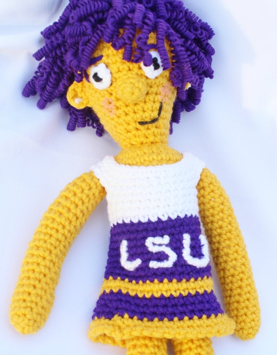 Crochet Hair On Dolls : ... Crochet Doll - Curly Hair - LSU - Crocheted Doll- Cheerleader Doll