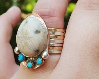 Fossilized Sand dollar ring, SIZE 7 mixed metal, copper and sterling silver, turquoise stone ring