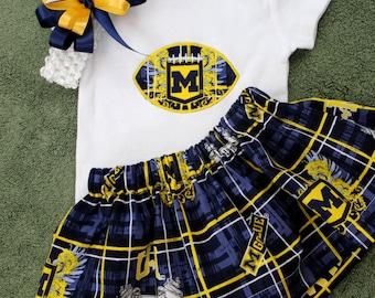 University of Michigan Wolverines Girls 3 piece Bodysuit set