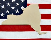 New York Unfinished Wooden State Craft Decorable Shape