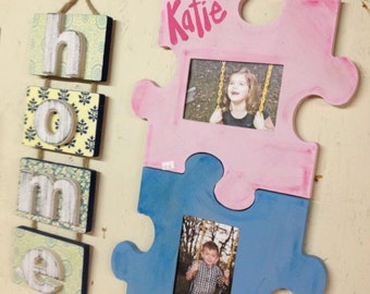 Unfinished (PUZZLE) Whimsical Picture Frame Wooden Paintable Wood Art