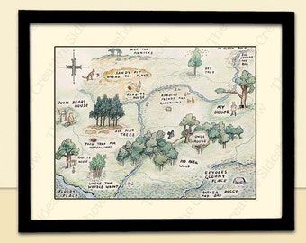 Winnie The Pooh Wall Art | Christopher Robin, 100 Acre Wood Themed | Poster Print in any size | Baby Child Kid Nursery Room Decoration