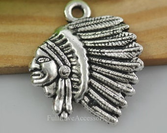 15pcs Antique Silver Indian Charm Pendant - 18x20mm Indian Chief Charms Pendant