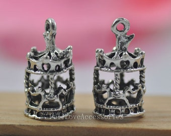 10pcs merry-go-round Charms, 10x22mm Antique Silver Tone merry-go-round Charms Pendant, carrousel charms pendant