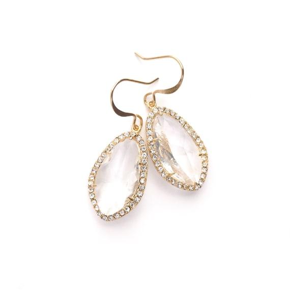 Pave Framed Crystal Dangle Earrings