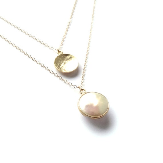 Gold Layer Necklace, Dainty Gold Necklace, 14k Gold Necklace, Pearl Necklace, Delicate Necklace, Thin Gold Chain, Gold Filled Necklace