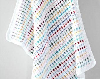 Handmade baby blanket, white baby blanket, crocheted baby blanket, baby shower gift, blanket