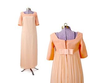 Peach Prom Dress 1960s Dress 60s Dress Peach Formal Peach Formal Dress, Peach 60s Prom Dress 1960s Prom Dress, Evening Dress, XS Small Dress