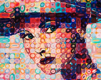 painting Woman art print modern art from original painting beautiful woman Upclose Lady giclee prints artbyevelynmarie lady woman hat