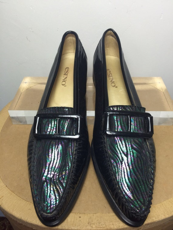 Vintage leather loafers patent black slip on shoes metallic jazzy mocassins UK 4.5 EU 37.5 US 7 Mod scooter All Italian leather casual