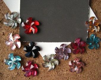 Decorative Thumbtacks, 12 pc Rhinestone Flower Thumbtacks, Mixed Colors,  Housewarming Gifts, Hostess Gifts, Wedding Favors
