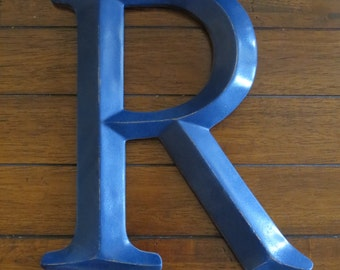 """Letter R or Pick Letter / Large 12"""" Wall Letter / Navy Blue or Pick Color / Mantle Nursery Wall Decor / Wall Initials / Letter Hanging"""