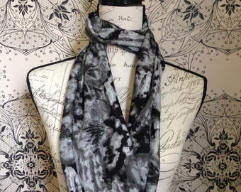 Womens Black and Grey Floral infinity/loop scarf. This scarf is called the Bridget