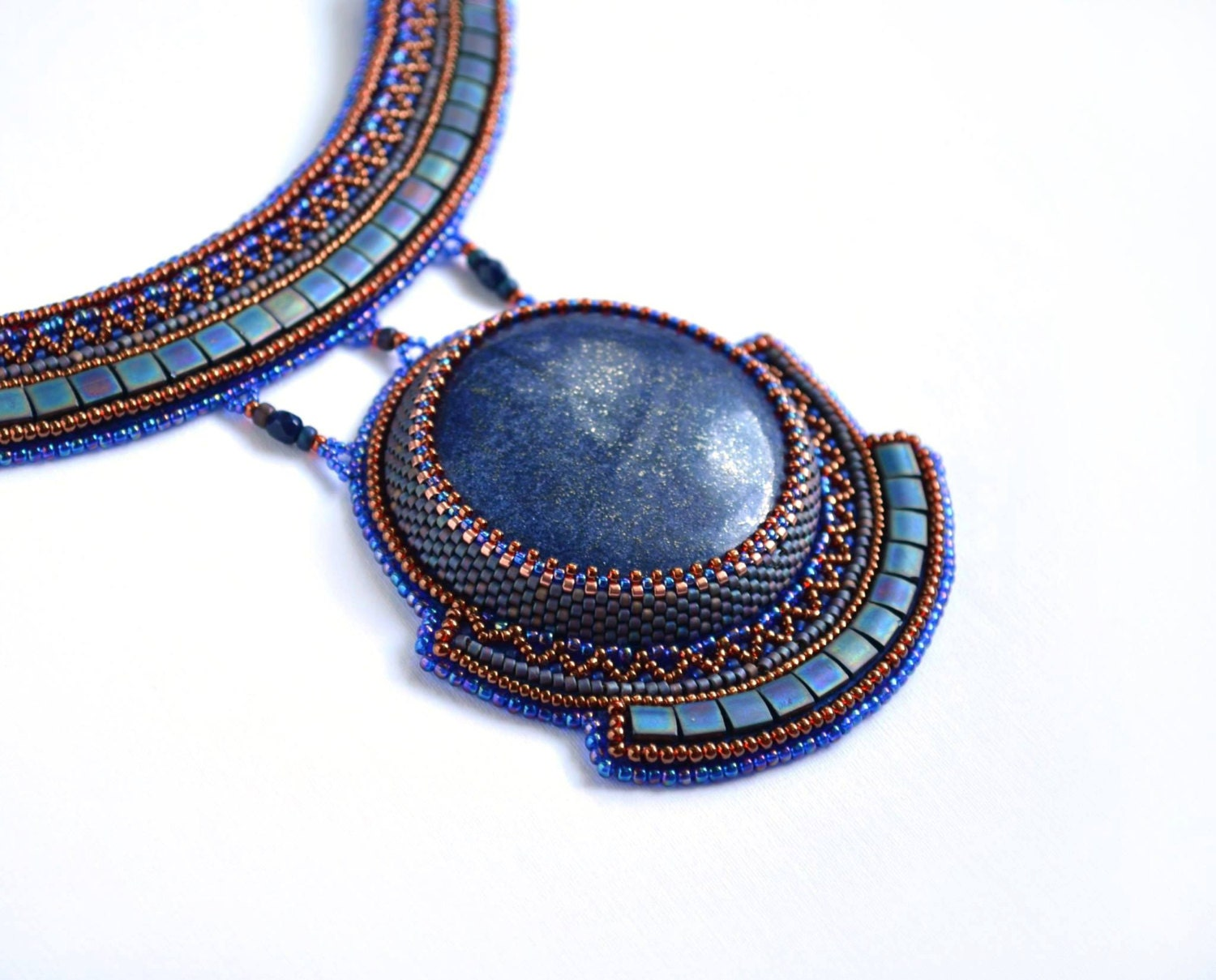 Bead embroidered necklace beadwork jewelry beaded embroidery