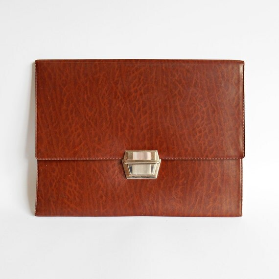 Vintage brown leather bag, Ipad briefcase, Work handbag, Luxury gift, Vintage leather folder, Gift for him, Laptop case