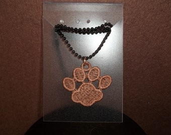 Embroidered Puppy Paw Print Charm Necklace