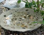 Tide Pool Bird Bath, Custom Handcrafted, Assorted Sea Shells, Assorted Pebbles
