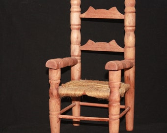 Vintage Wood Doll Chair with Rope Seat
