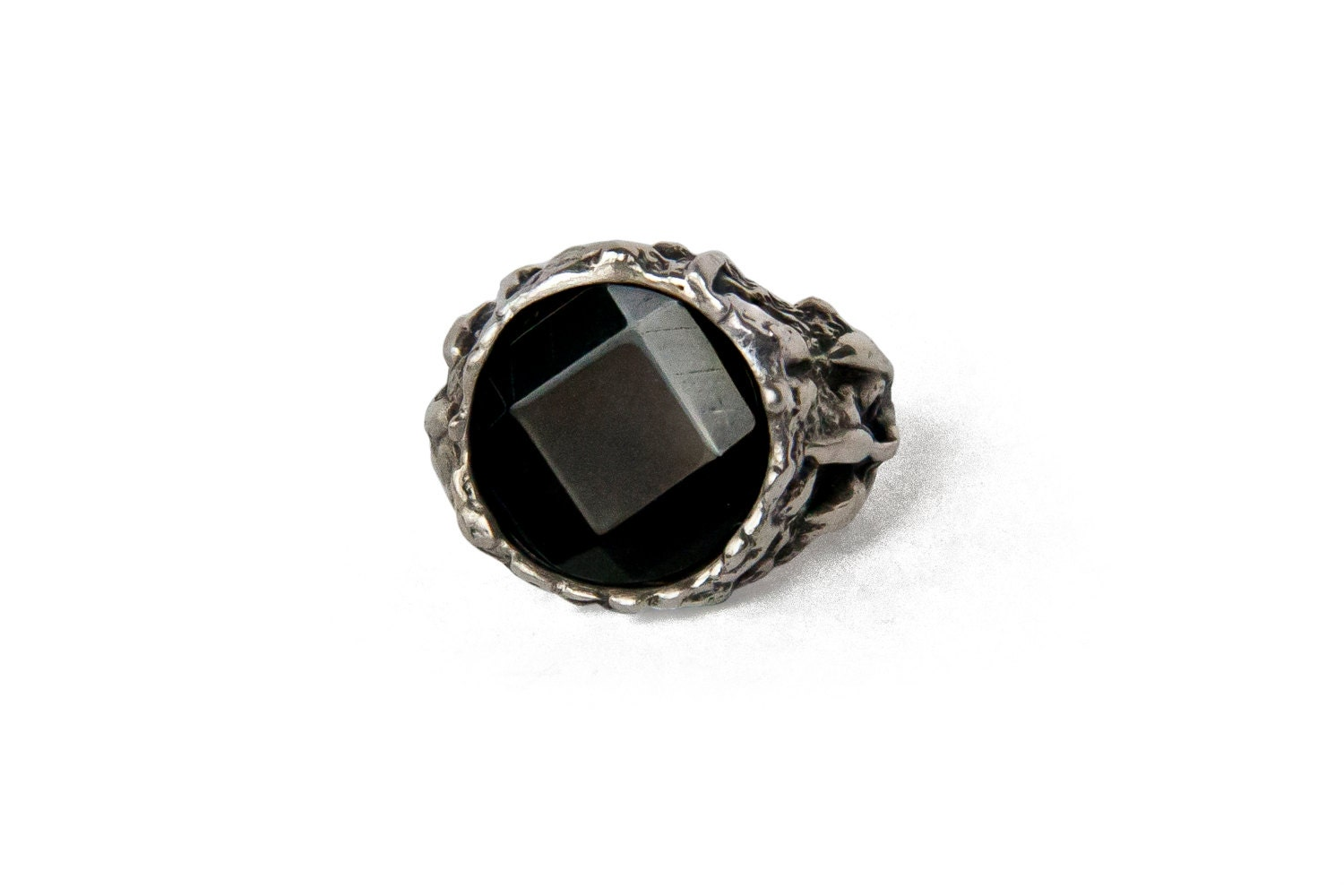 Black yx Stone Ring Solid Silver Witch Ring Dark