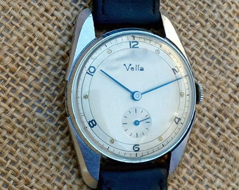 Vintage 1940s Men's Swiss Watch, Manual Wind, Professionally Serviced, Vintage Dress Watch - Free Shipping