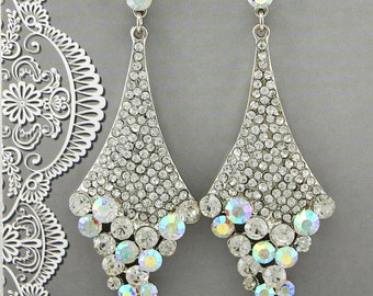 "Bridal Earrings Wedding Earrings Wedding Jewelry Bridal Jewelry Vintage Inspired ""Silver Drop"" Earrings Crystal Bridal Earrings Style-555"