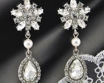 Bridal Earrings Wedding Earrings Wedding Jewelry Bridal Jewelry Brides Earrings Vintage Inspired Earrings Crystal Drop Earrings Style-96