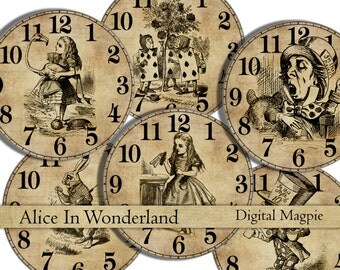 Alice in Wonderland 2 inch circles printable digital cupcake toppers round images instant download for Alice party or craftsty