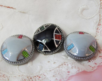 Painted Molded Glass Buttons Black and Grey - 3