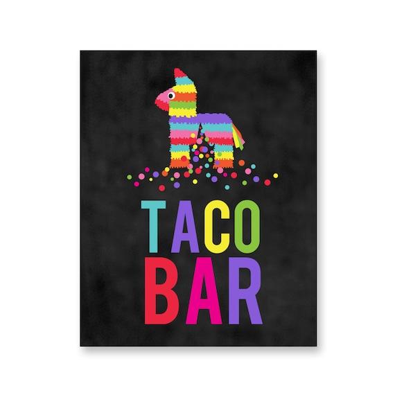Fiesta Party Printable Table Signs Taco Bar Salsa Bar Nacho