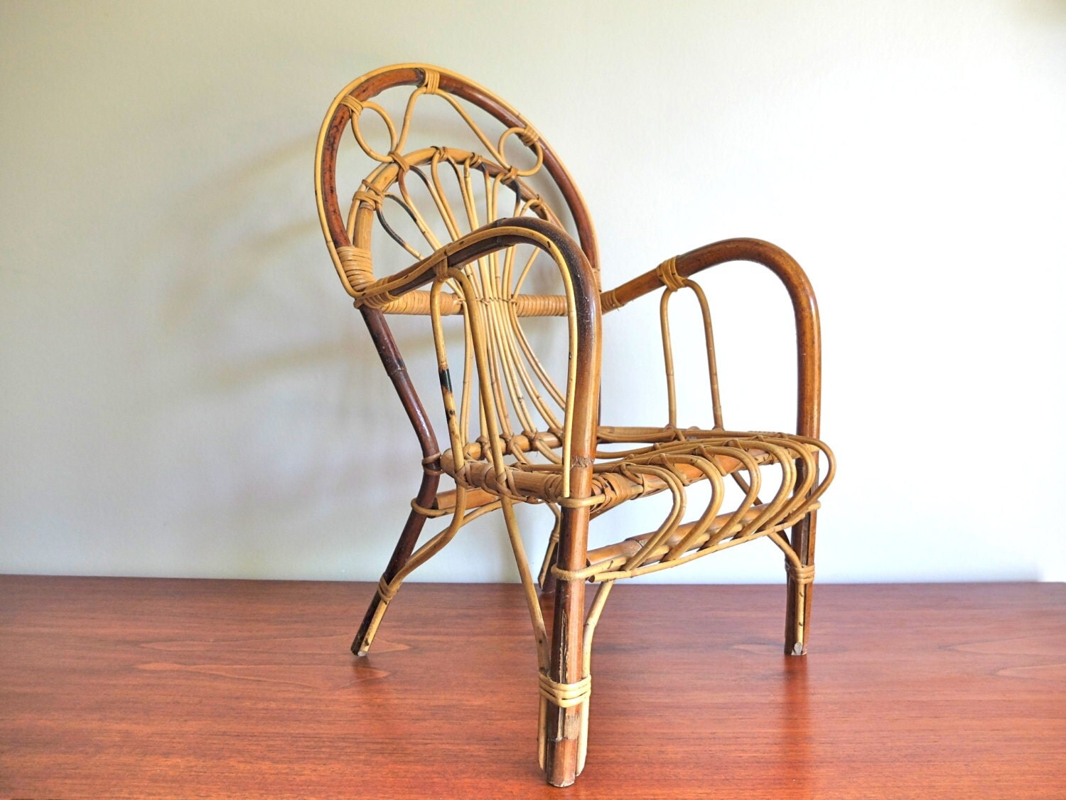 Kids Furniture Vintage French Bamboo Chair Armchair 50s