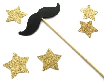 2 Mustache Cake Toppers. Little Man Birthday. First Birthday. Centerpieces. Mustache Props.