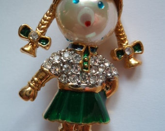 Vintage Unsigned Goldtone/Rhinestone Little Girl Brooch/Pin