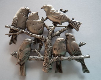 Vintage Signed JJ Silver pewter Birds on Branches Brooch/Pin