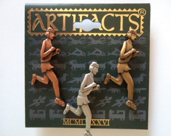 Vintage Signed JJ Pin Tacs Assorted Pewter Trio of Runners