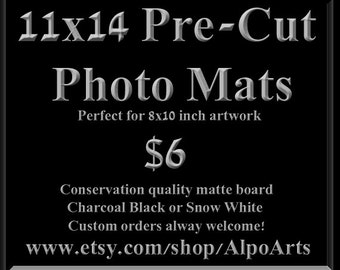 11x14 Pre-Cut Photo Mats, Black or White, hand made, 8x10, art work, acid free, photo mats, mat board, framing supplies, wall art, frame